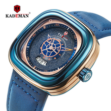 KADEMAN Men Watch Square Design Sports 3TAM Fashion Leather Wristwatches NEW Business Casual Quartz Relogio Masculino 9030