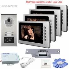 Metal Home Intercom Door Rfid Camera 7″ Door Phone Monitor For 4 Apartment Video Door Phone For Home With Electric Strike Lock
