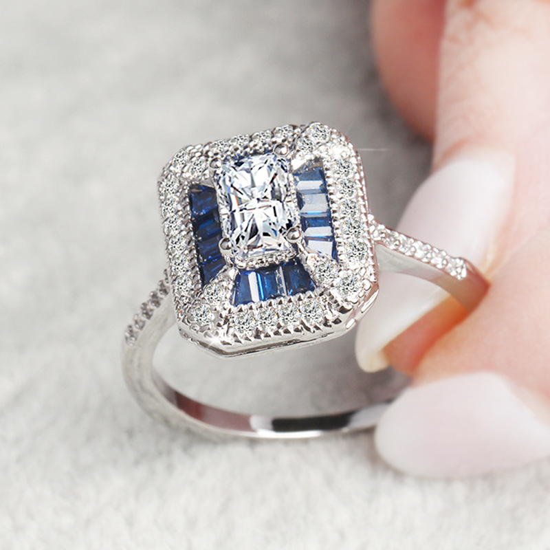 Wedding 14K Gold Jewelry Square Sapphire Ring for Women Peridot Anillos blue topaz Gemstone Bizuteria Diamond Jewelry Rings