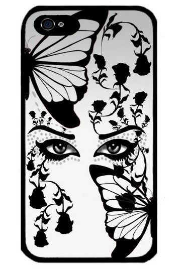 Eyes With Butterfly Black Color Protective Black Side Cover Cases