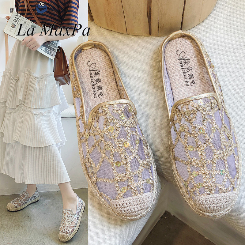 Summer Lace Flat Shoes Women Casual Fisherman Flats Ladies Hollow Breathable Air Mesh Lightweight Soft Sequins Lazy Loafers New