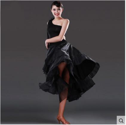 Sexy standardní černé taneční šaty pro ženy Velikost Waltz Tango Dívky Moderní taneční sukně salsa župan jupe danse de salon