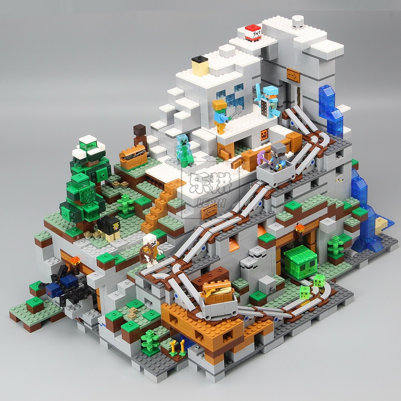 Em estoque 18032 mecanismo de Blocos e Tijolos 3043pcs A Montanha Caverna do Meu mundo Compatível 21137 presentes de Natal