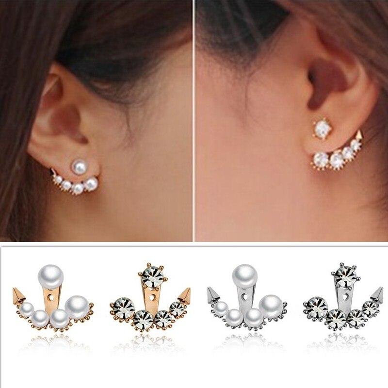 EK624 New Cute Back Post-hanging Arrow Simulated Pearl Crystal Stud Earrings For Women Wedding Jewelry Girl Accessories Brincos