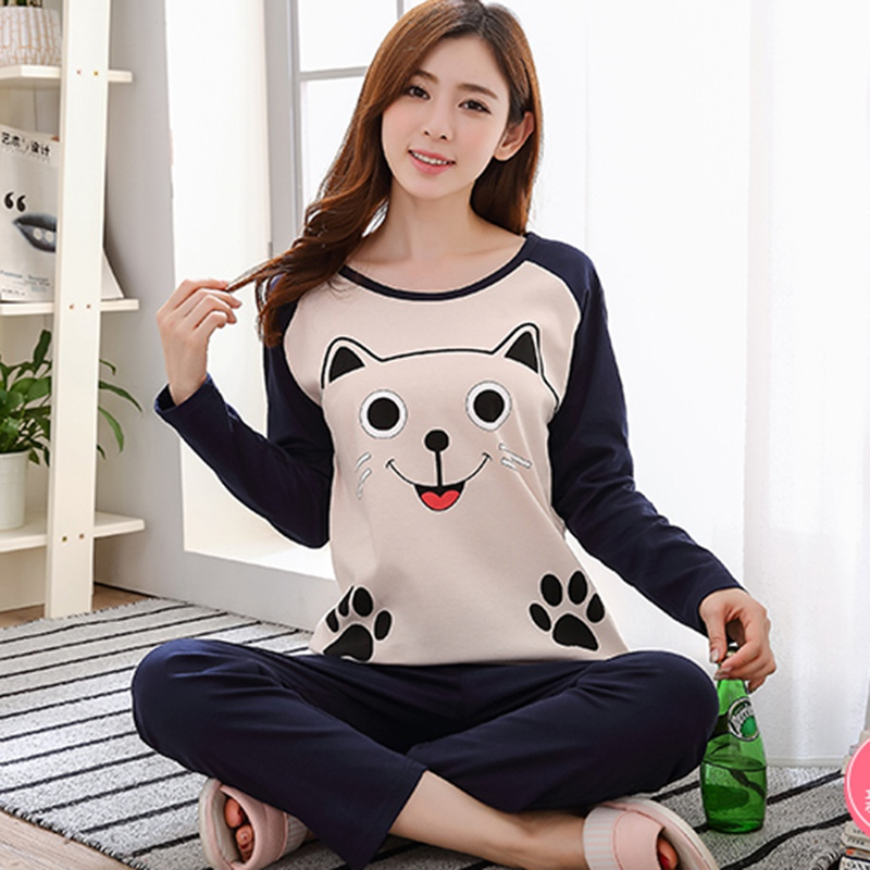 Autumn 2018 Winter Pajamas Women Cute Cat Pink Strawberry Pijama Mujer Christmas Clothes Loungewear Plus Size Pajamas For Women