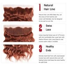 Brown Auburn Human Hair Bundles With Frontal 13*4 Brazilian Natural Wave Human Hair Weaves Bundle 3/4 PCS NonRemy Hair