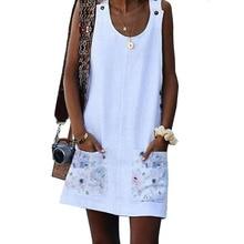 Летнее женское платье Бохо Принт без рукавов Туника пляжное платье сарафан с карманами черное белое платье хлопок лен размера плюс 5XL