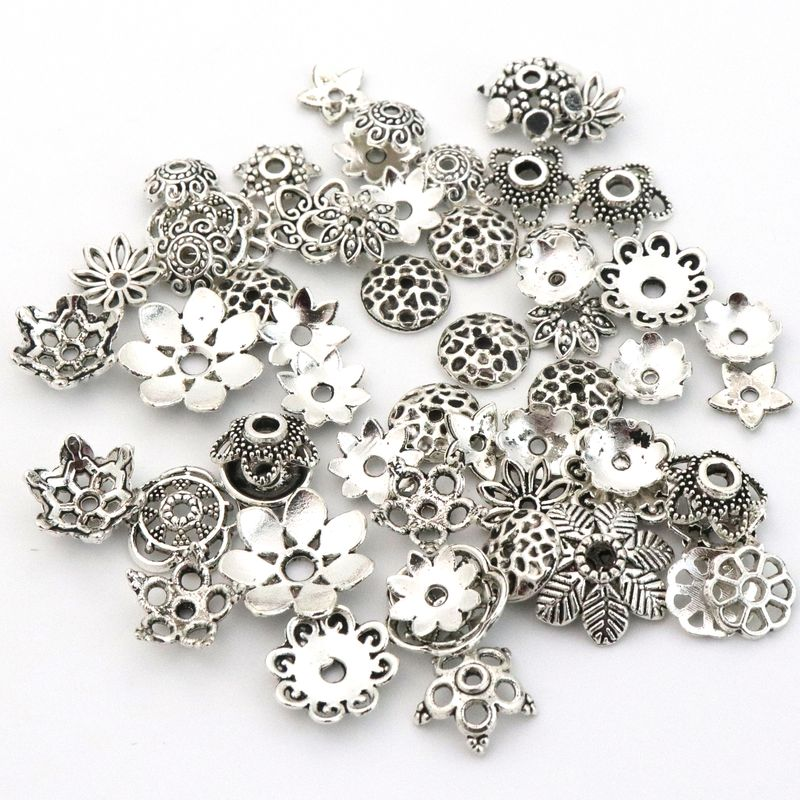 100pcs Big Mixed Tibetan Silver Flower Loose Spacer Bead Caps For Jewelry Making Findings Needlework Diy Accessories Wholesale