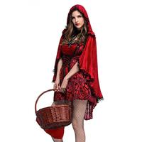 Gothic Little Red Riding Hood Nightclub Queen Costume Horror Cosplay Stage Dress Halloween Party Dress Lace Shawl Size M XL