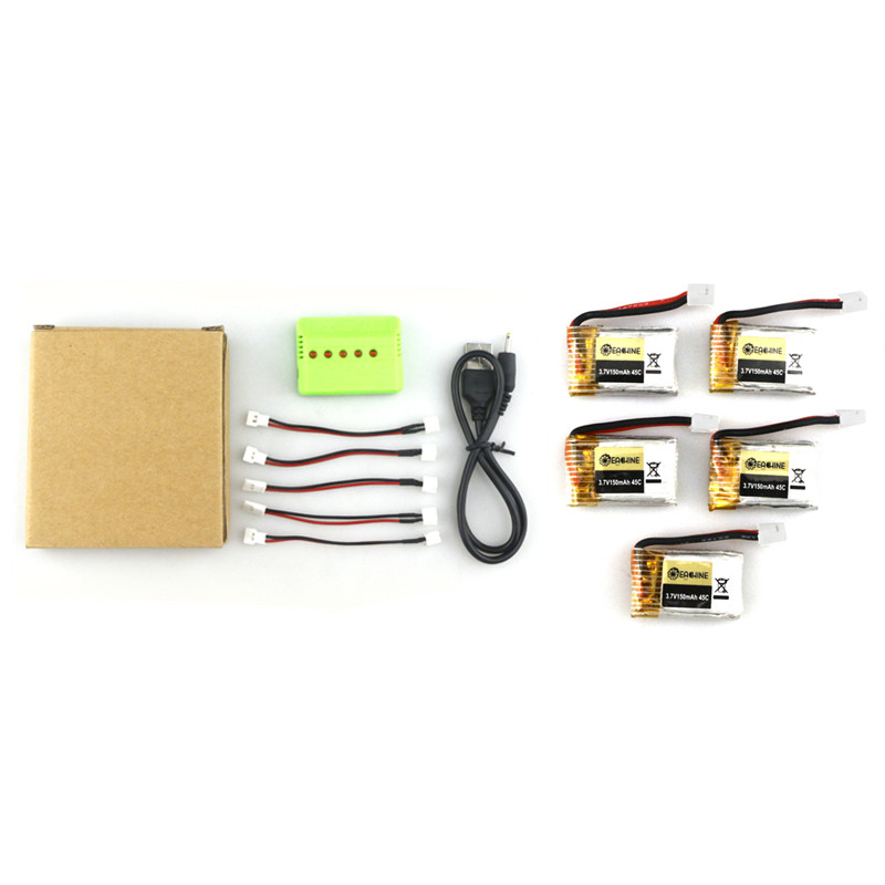 цены на 2016 New Arrival 5PCS JJRC H36 Eachine E010-0006 RC Quadcopter Spares Parts 3.7V 150MAH 45C Upgrade Battery Charger Set
