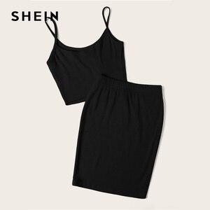 Image 5 - SHEIN Neon Rib Knit Crop Cami Top And Skinny Skirt Set Sexy Solid Sleeveless 2 Piece Set Spaghetti Strap Women Set