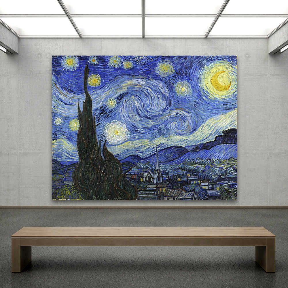 QKART Impressionism Van Gogh Starry Night Canvas Art Office Motel  Wall Pictures For Living Room Printed Home Decor