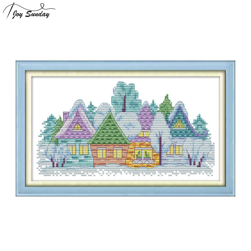 Joy Sunday Small Village Cross Stitch Landscape 14ct11ct Aida Fabric Printed Canvas for Embroidery Kit DMC Cotton DIY Needlework in Package from Home Garden