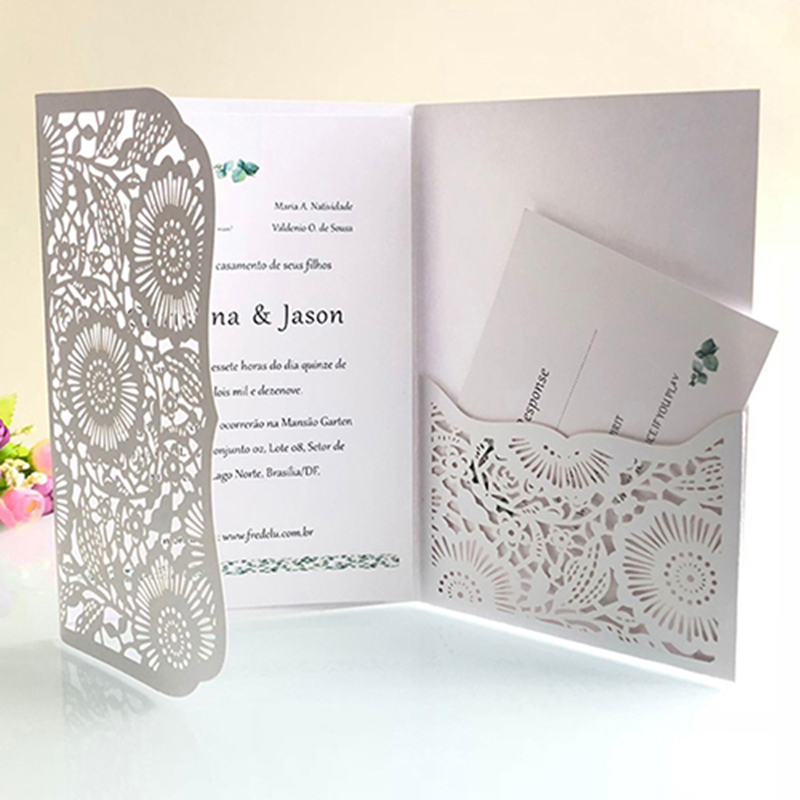 50pcs Pocket Laser Cut Wedding Invitation Card With RSVP Card Greeting Card Personalized Business Party Decoration 5Colors