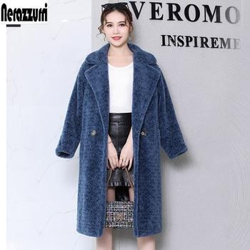 Nerazzurri Luxury brand real fur teddy coat women winter warm Double Breasted natural fur coats loose oversized sheep fur jacket