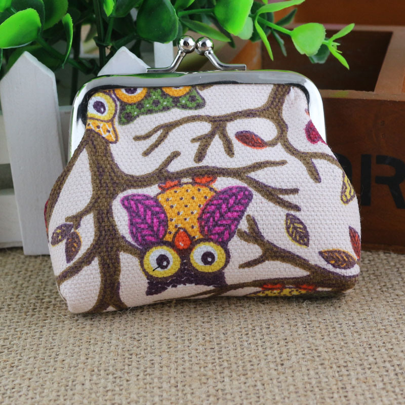 HD Brand New High Quality Fashion Women Lovely Style Lady Small Coin Wallet Hasp Owl Animal Prints Canvas Purse Mini Clutch Bag women short wallet vintage coin purse clutch clip lovely animal prints soft leather small purse carteras mujer sacoche homme