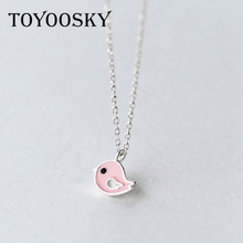 Real 925 Sterling Silver Pink Bird Animal Necklaces Thin Chains Necklace Women Kids Girls Jewelry