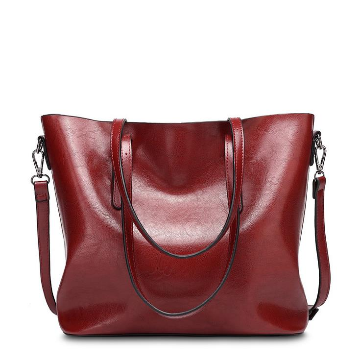 Simple large capacity Handbags For Women 2017 summer Oil Wax PU soft leather luxury Famous brand Bucket toto bag Fashion