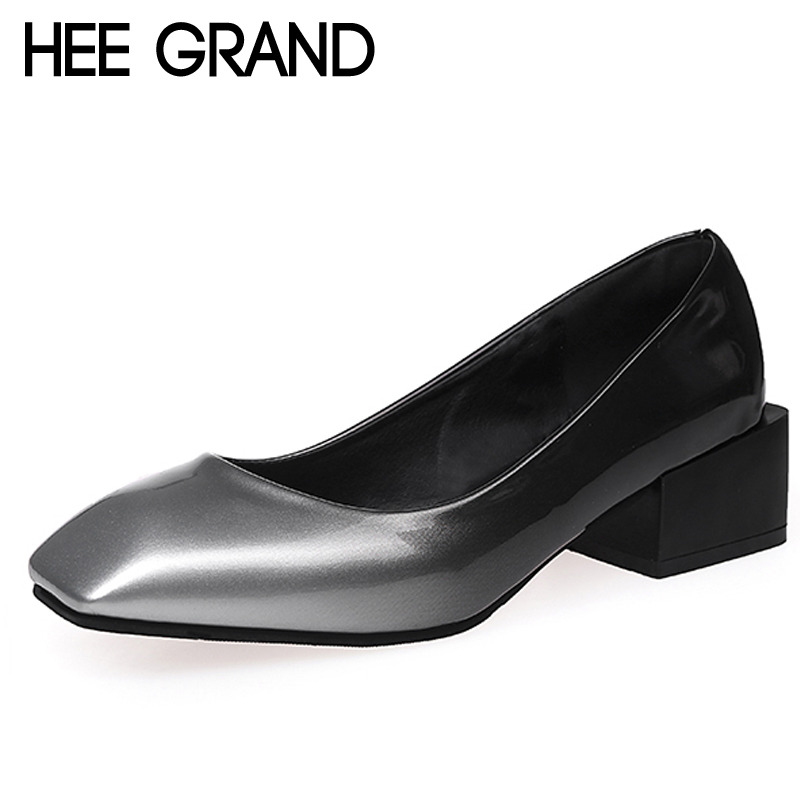 HEE GRAND Grandual Change Colors High Heels Sexy Elegant Pumps Slip On Square Toe Casual Shallow Shoes Woman XWD6383 hee grand cross tied women sandals summer sexy square high heels flock wedding shoes woman elegant pumps ladies 3 colors xwz2049