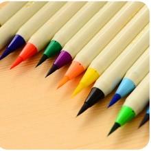 Оригинальная японская Акварельная кисть маркер ручка 14 цветов, Мягкие кисти маркеры