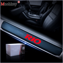 цена на Car Decoration Scuff Plate Door Sill Carbon Fibre 4pcs Car Accessories For KIA RIO K2 Sedan Hatchback 2010 2011 2012 2013 2014