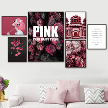 Pink Forest Ginkgo Leaf House Vogue Woman Wall Art Canvas Painting Nordic Posters And Prints Pictures For Living Room Decor