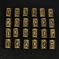 24pcs Lot Vintage Bronze Color Norse Viking Runes Charms Beads For Beard Or Hair Vikings Rune