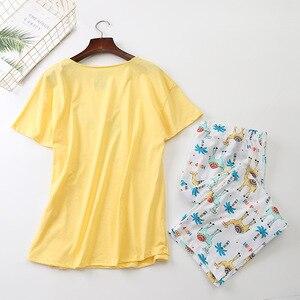 Image 2 - 새로운 2019 여름 여성 잠옷 면화 귀여운 인쇄 알파카 잠옷 세트 탑 + 카프리 탄성 허리 플러스 크기 3XL 라운지 pijamas S92902