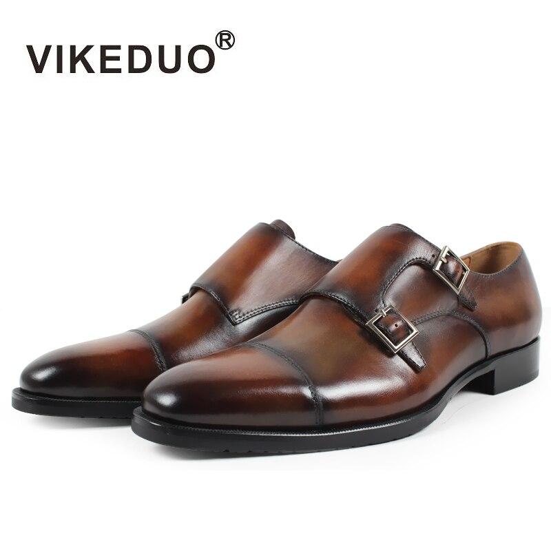Heißer Retro Vikeduo Original Hochzeit Flache Kleid Luxus Schuhe Design 2019 Echt Mönch Mode Leder Neue Handgemachte Männer Schuh Brown Echtem qtpI7pSw