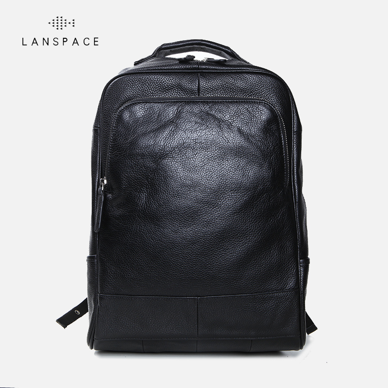 LANSPACE men's cow leather backpack fashion genuine leather backpack casual travel bag lanspace men s leather shoulder bag real leather waist bag fashion leather travel bag