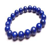 Бесплатная доставка 10.5 мм синий лазурит натуральный Браслеты для Для женщин мужские Рождественский подарок стрейч Шарм Круглый браслет из