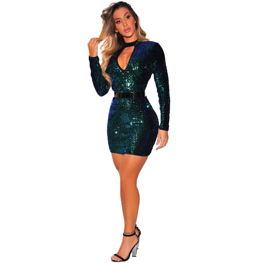 Women Sequined Mini Dress Cut Out Front Turtleneck Bodycon Vestido Female  Night Club Party Dress Sexy 9878405c7cfa