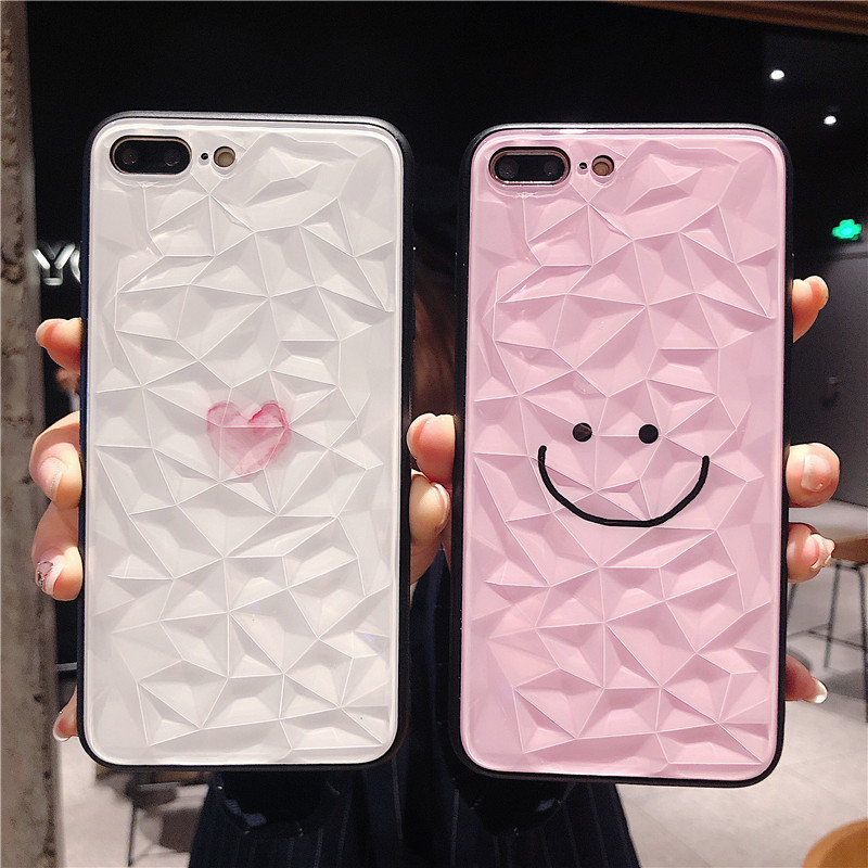 Diamond Texture Phone Case For iPhone X XR XS Max 6 6s 7 8 Plus Luxury Ultra Thin back cover love heart simple cute smiley face