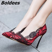 Boldees Women Sexy Lace Heels Pointed Toe Red Black High Heel Pumps Slip on Wedding Dress Shoes Thin Heels Night Club Shoes