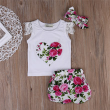 Kids Baby Girls Clothes 3Pcs/Set Summer Outfits