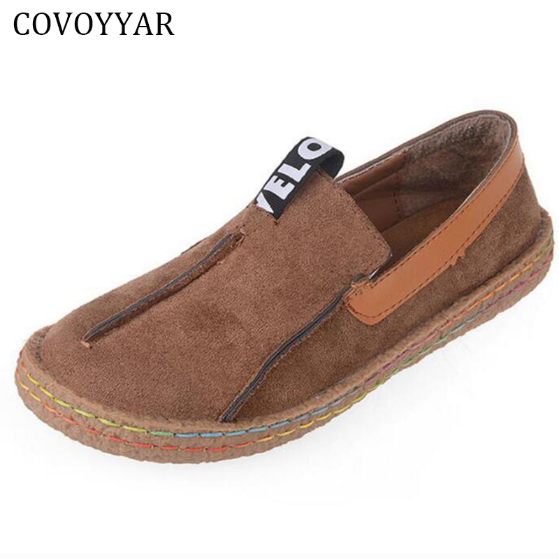 COVOYYAR 2017 Big Round Toe Women Shoes Spring Autumn Vintage Flats Woman Sewing Shoes Lady Loafers Slip On Sizes 35-42 WFS671 jingkubu 2017 autumn winter women ballet flats simple sewing warm fur comfort cotton shoes woman loafers slip on size 35 40 w329