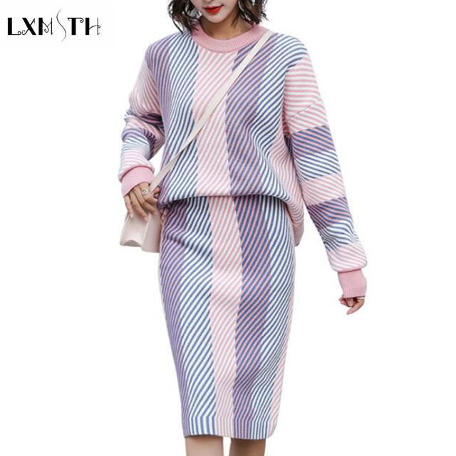 LXMSTH 2019 Autumn Winter Ladies Two Piece Knit Sets Skirt and Top Slim Striped Suits Womens Sweaters Skirts Sets Knitted Casual