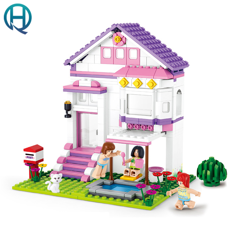 Sluban 29Building Blocks Assembled Pink Dream Girl PoolVilla Model Bricks Minifigure Toys for Children Compatible With Lego