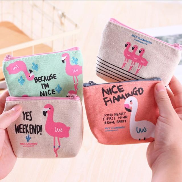 1Pcs Popular Women Flamingo Strawberry Pattern Coin Purse Zip Bag child girls boys Mini Wallet Canvas Portable Pouch Coin Purses & Holders