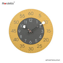12 inch European-style Vintage Retro Wall Clock Wood Brief Accurate Silent Round Yellow Home Decoration Watch Wall Clock