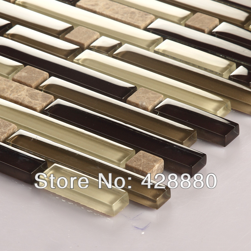 Glass Mosaic Tiles Kitchen Backsplash Interlocking Mosaic Stone Tile Sheets 606 Brown Crystal