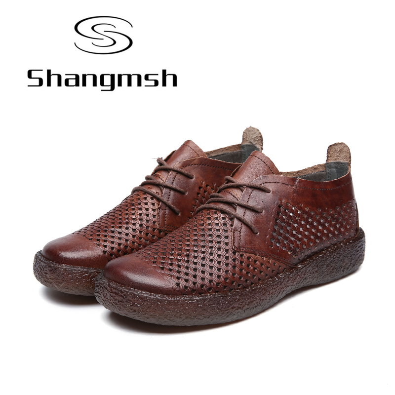 Shangmsh Genuine Leather Shoes Women Solid Round Toe Soft Lady Shoes Lace-up Autumn Breathable Casual Loafers Flats Female Shoes asumer white spring autumn women shoes round toe ladies genuine leather flats shoes casual sneakers single shoes