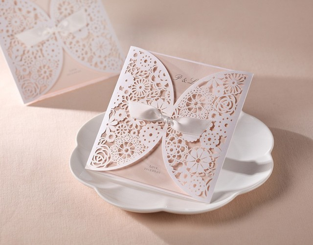 gorgeous vintage lace flower cutout wedding invitations cards with