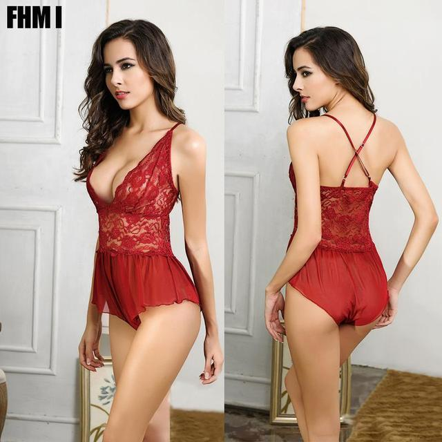 Hot wine red rose lace open bra teddy lingerie