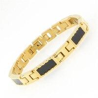 Hot 316L Stainless Steel 18K Gold Plating Bangles Negative Ion Magnetic Germanium Health Bracelet For Men
