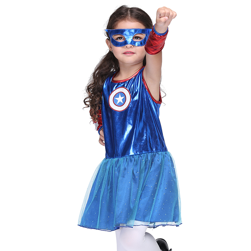 American Captain Costume Cosplay Girl Supermen Halloween Dress Costume Party Cosplay Girls Dress