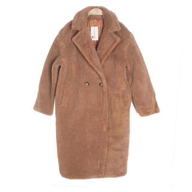 NAVIO AGORA falso casaco de pele grossa quente curly teddy nova coleção de inverno feminino roupas oversize com baixo windbreak marrom