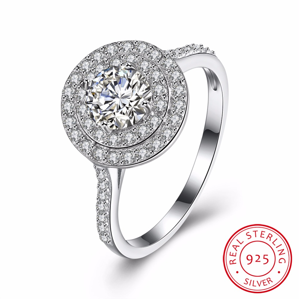 100% Genuine Real Pure 925 Sterling Silver Ring AAA Round ...