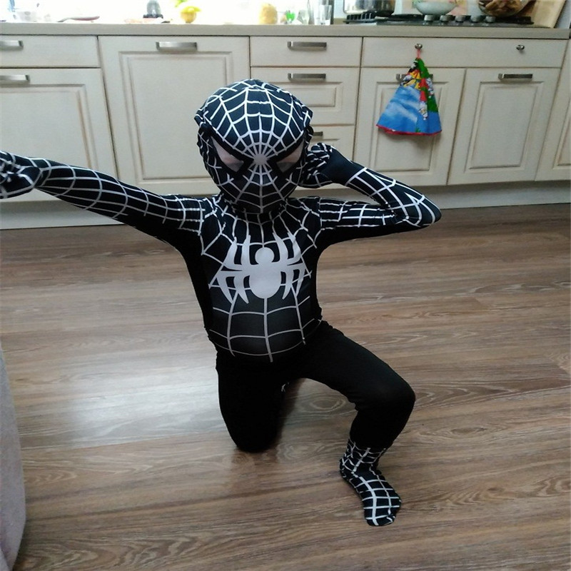 Halloween Hot Sale Marvel Comic Children Black Spiderman Cosplay Costume Kids Spider man Bodysuit Carnival for party