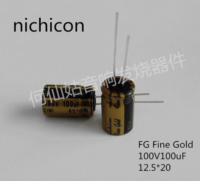 Купить с кэшбэком 10pcs/20pcs NICHICON capacitance FG series 100v100uf 12.5*20 audio super capacitor electrolytic capacitors free shipping